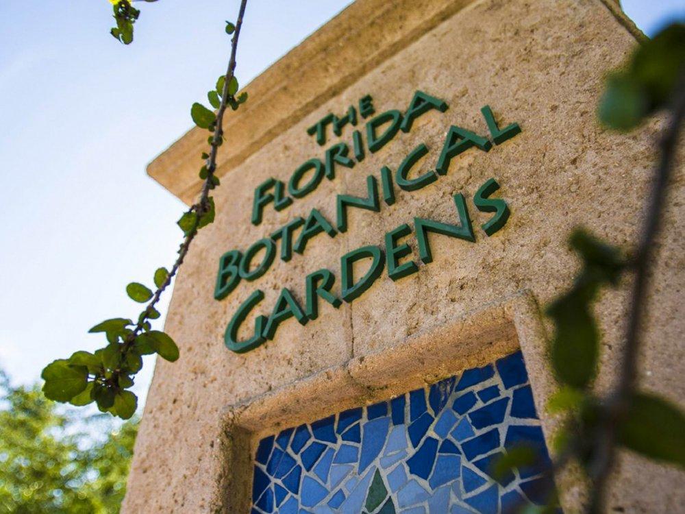 The sign for the Florida Botanical Gardens